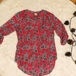 Faded Glory Red Paisley Top Size S